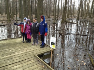 Kids exploring the Vernal Pools at the Sawmill Wetlands on April 6.