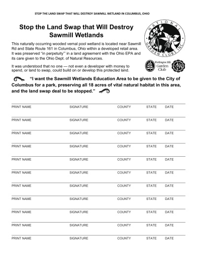 Please circulate this petition in support of the Sawmill Wetlands